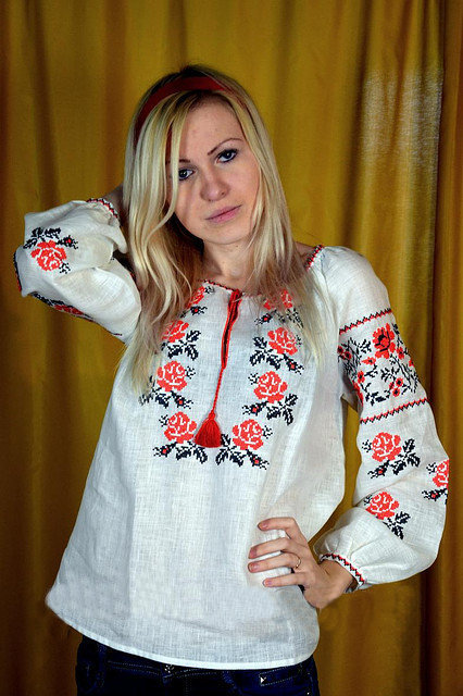 Buy Women's white authentic embroidered Ukrainian blouse (vyshivanka)
