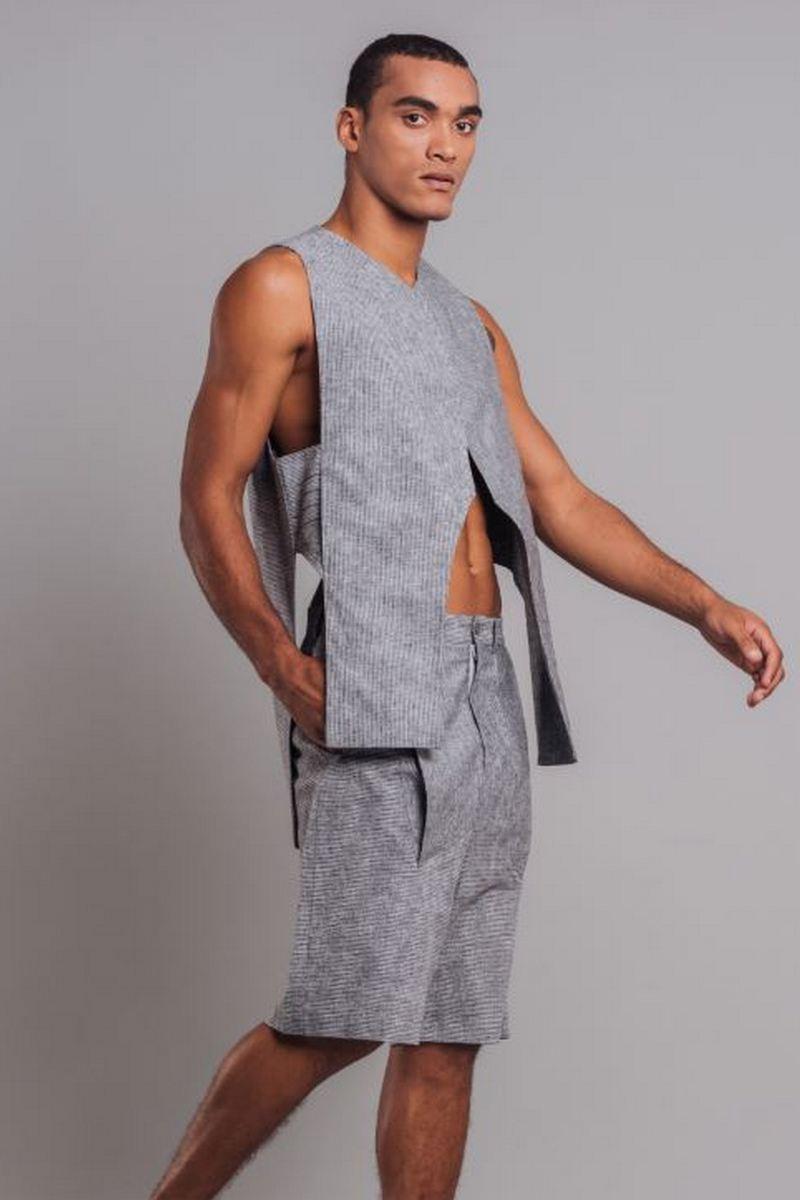 Buy Men`s Casual Vest Shorts Suit Gray Striped Linen Cotton Costume for men