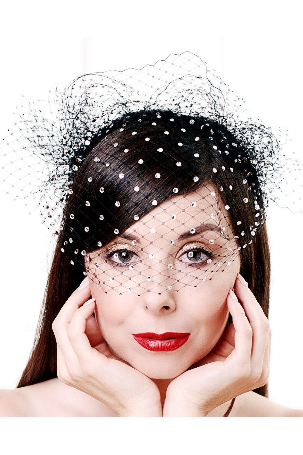 Buy Black women`s evening veil headband with swarovski crystals, Birdcage veil in balck