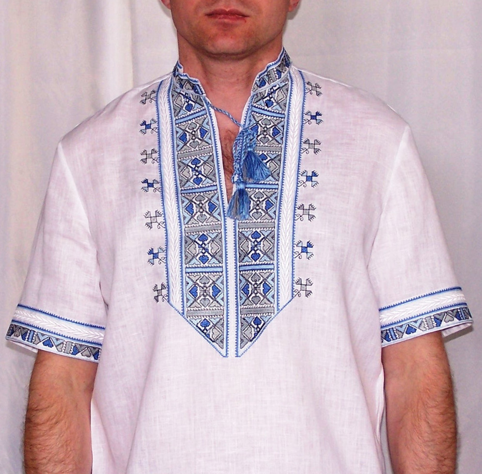 Buy Folk Ukrainian Men's Linen White Vyshivanka Short Sleeve Shirt, folk style boho summer embroidery Shirt