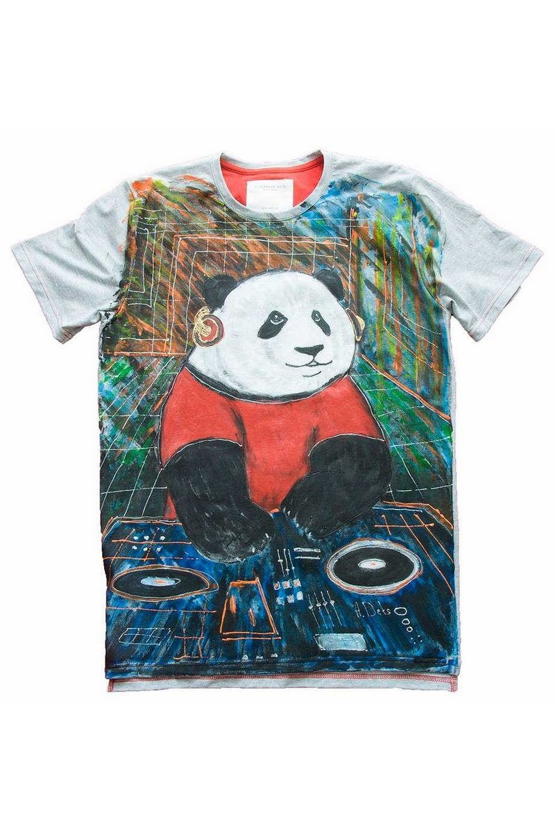 Buy Gray Cotton stylish Women Men Print Unique tee shirt , Short sleeve Panda tshirt