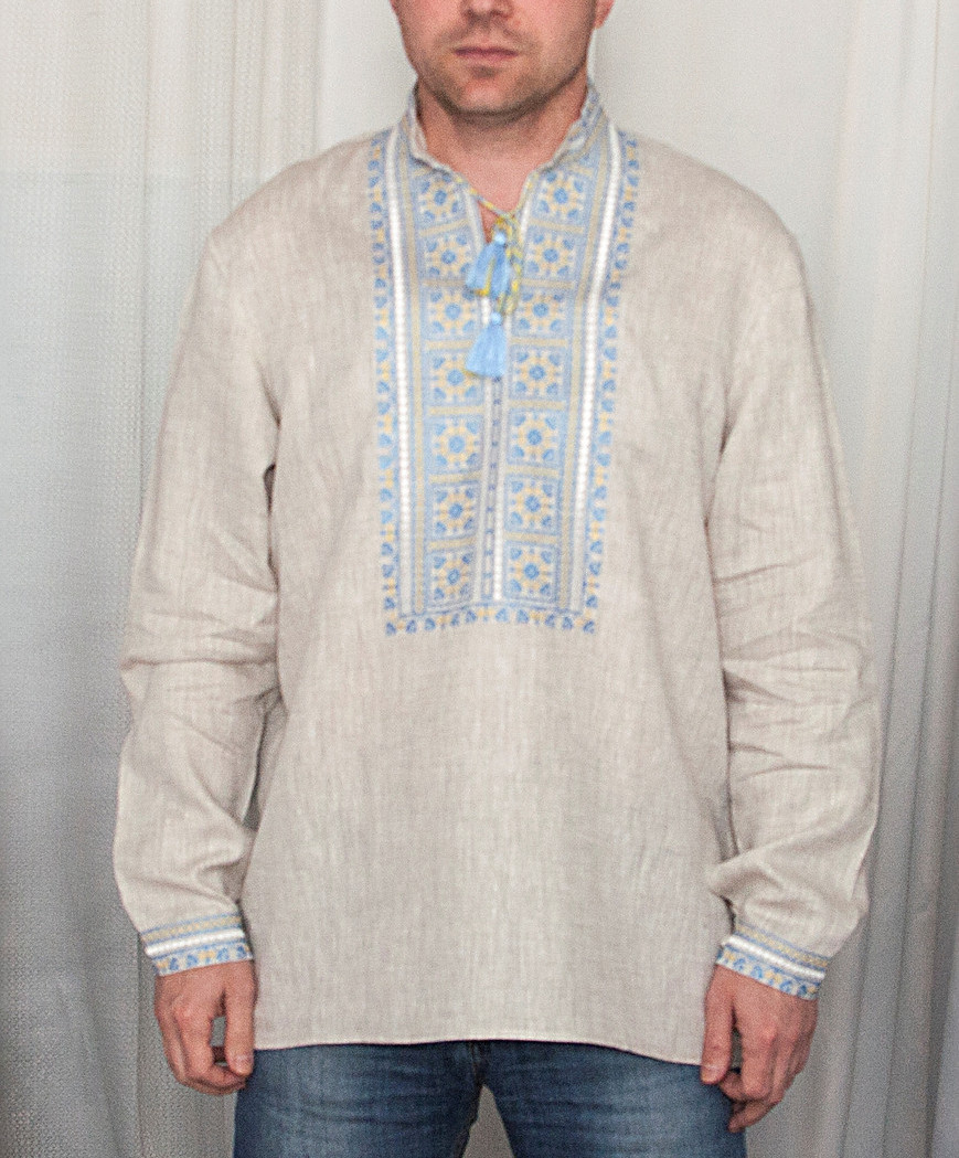 Buy Men's long sleeve boho embroidered linen white shirt, Ukrainian vyshivanka for men