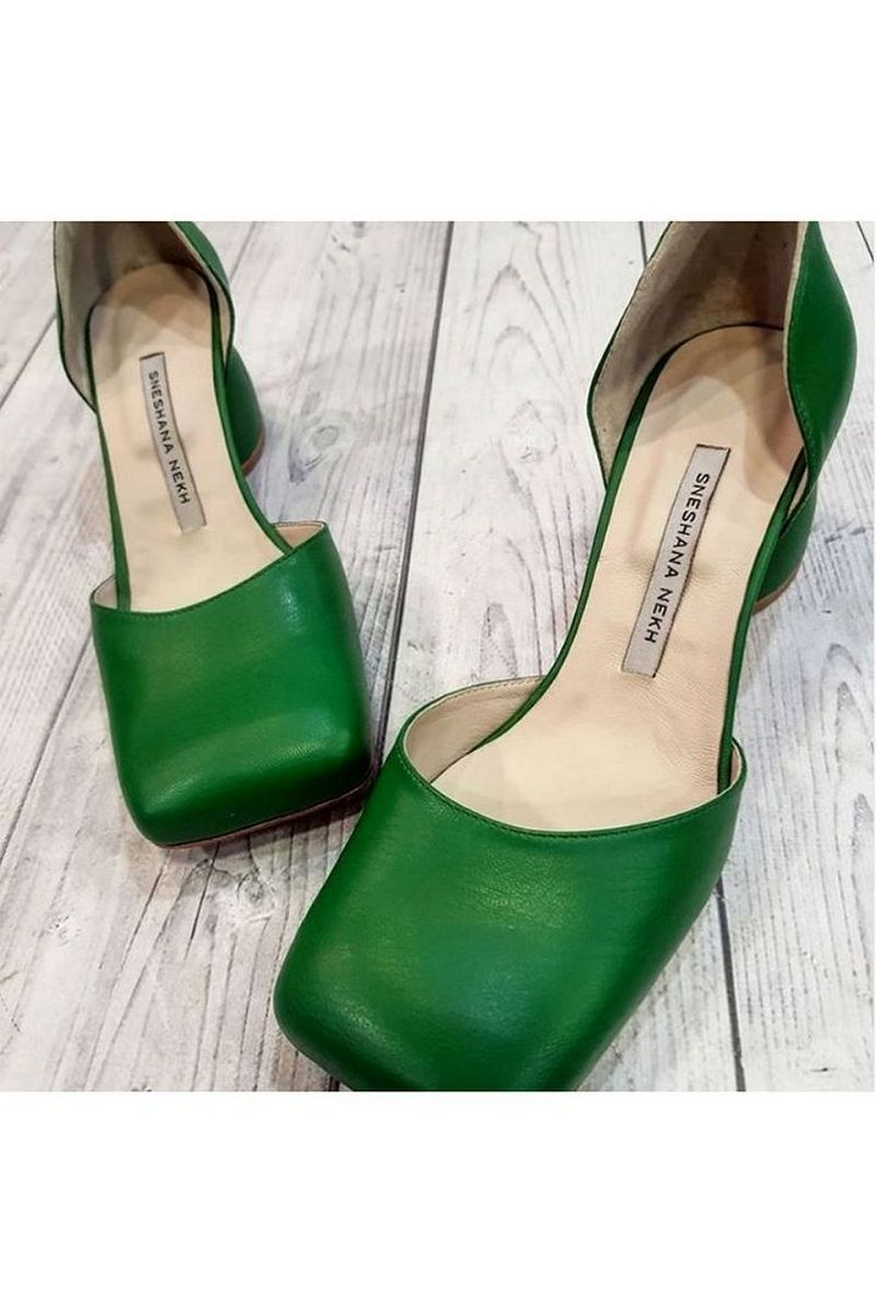 Buy Square Toe Shoes for Women Comfort Green Heels Ladies Heeled Dress Shoes