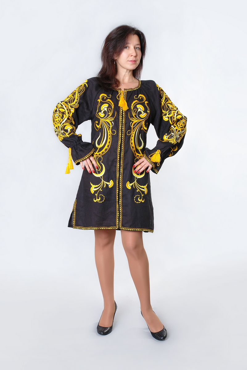 Buy Women black linen embroidered mini dress, Hippie Festival Boho Folk Ukrainian style vyshivanka