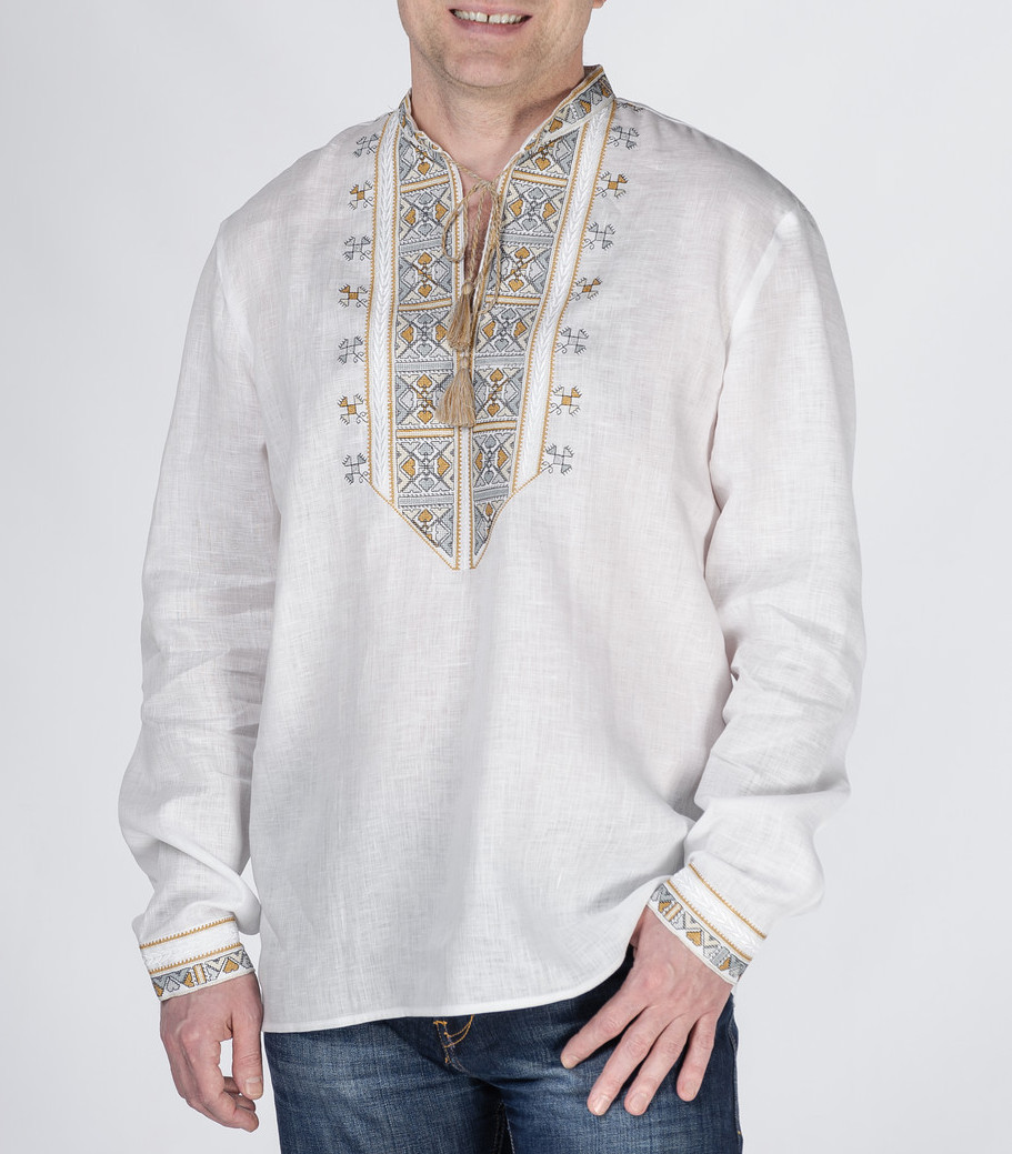 Buy Ukrainian Men's Linen Embroidered Long Sleeve White Shirt, folk style boho embroidery Shirt