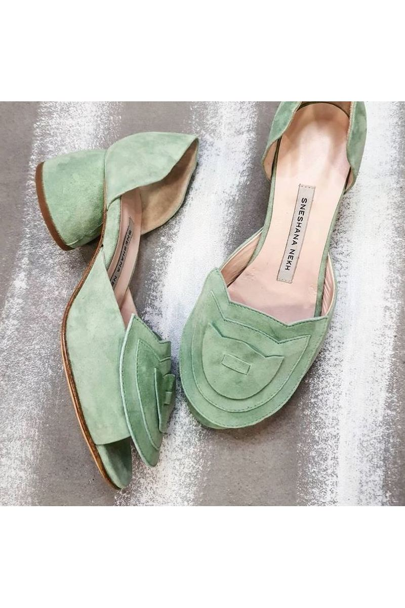 Buy Woman Olive Suede Round Open Toe Block Low Heel Fashion Closed Heel Decor Shoes