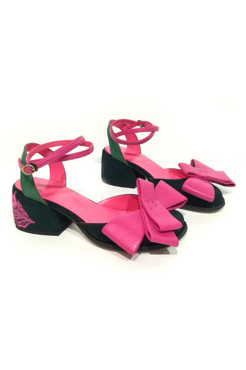 Buy Nubuck suede pink sandals closed toe bow embroidery heel strap, Comfortable designer shoes