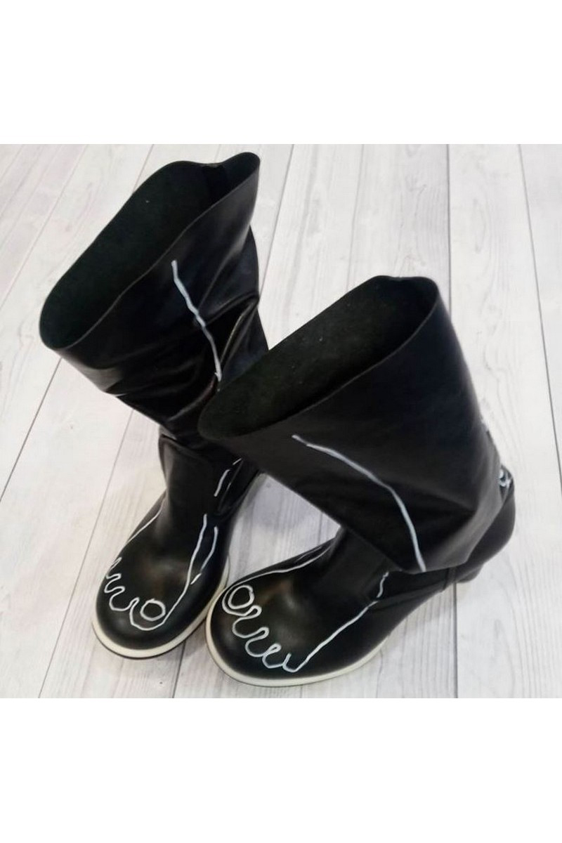 Buy Black leather heel boots, unique handmade heel round toe boots