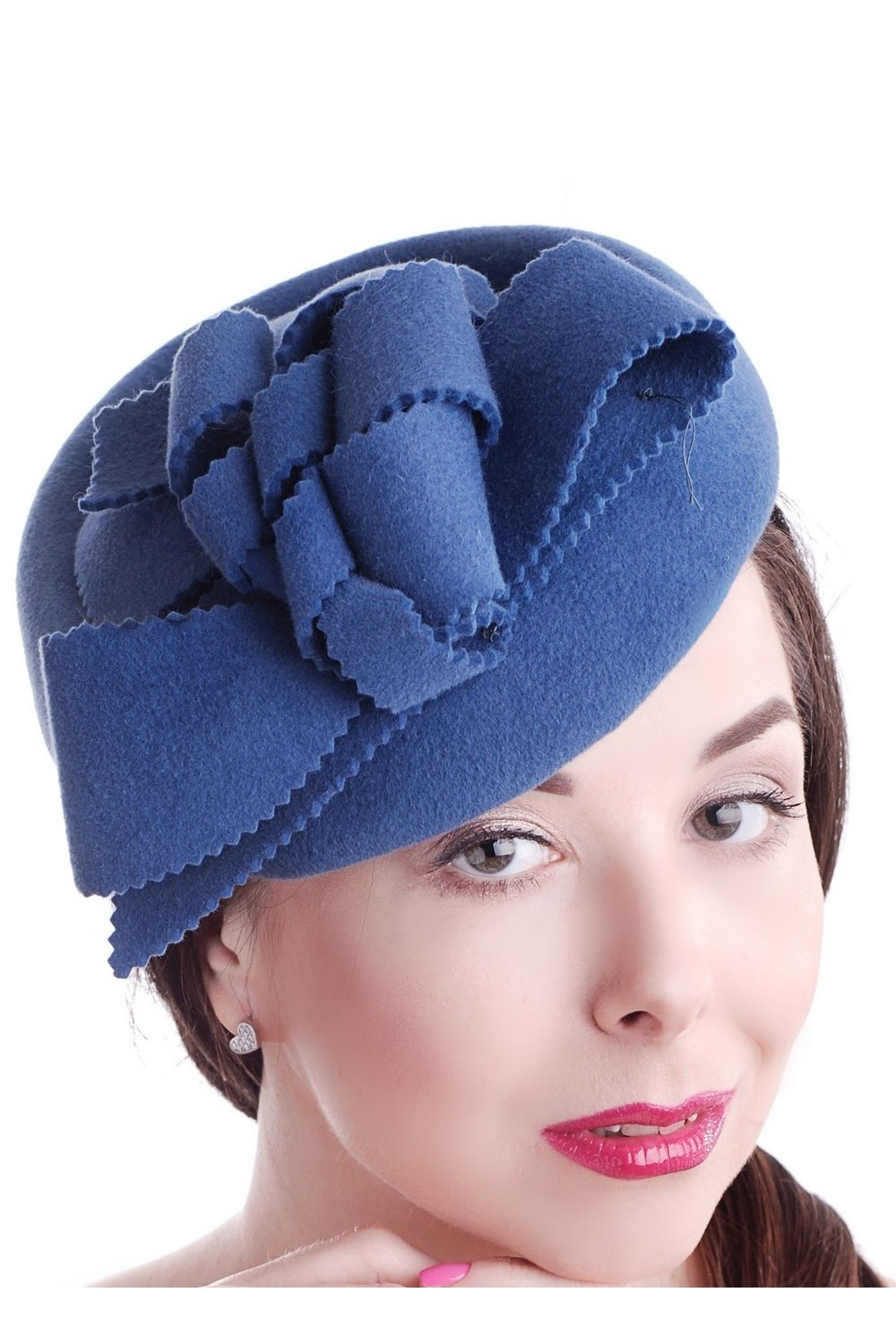 Buy Blue women's felt hat in retro style, Exclusive unique stylish hat for fall or spring