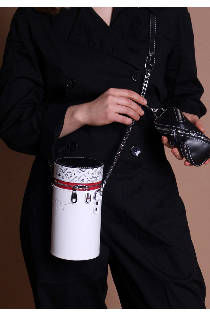 Buy Flask bag with a key holder, white-black leather long strap bag