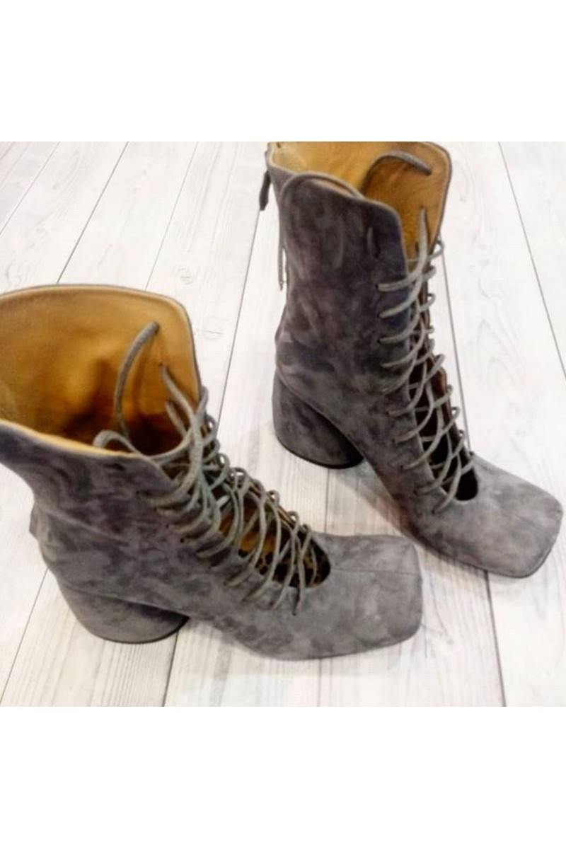 Buy Gray suede square toe boots, lacing heel exclusive designer boots