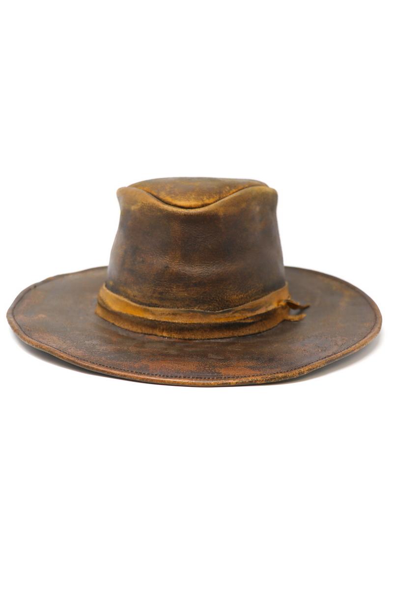 Buy Vintage Brown Flat-Brim Cowboy Hat, Leather Handmade Stylish Vontage style hat