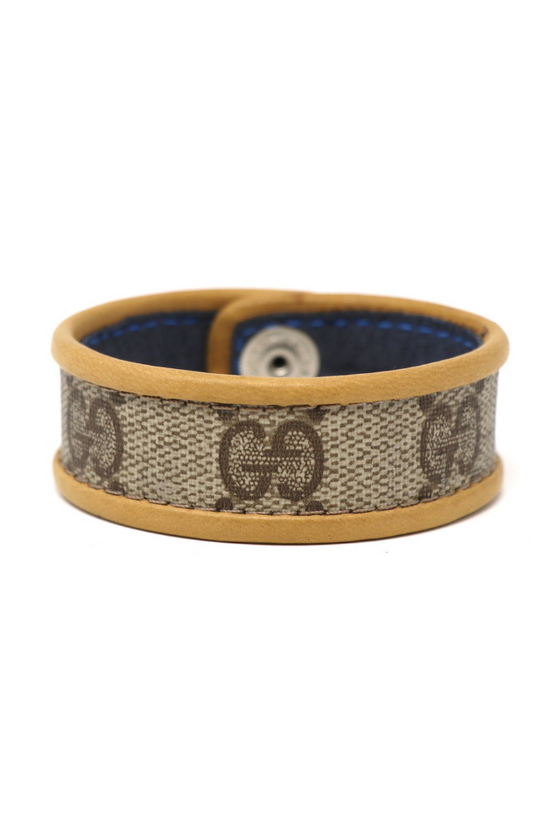 Buy Single Row Gucci Wristband/Cuff Stitched Tan Leather Bordering, Festival Rocknroll leather accessories