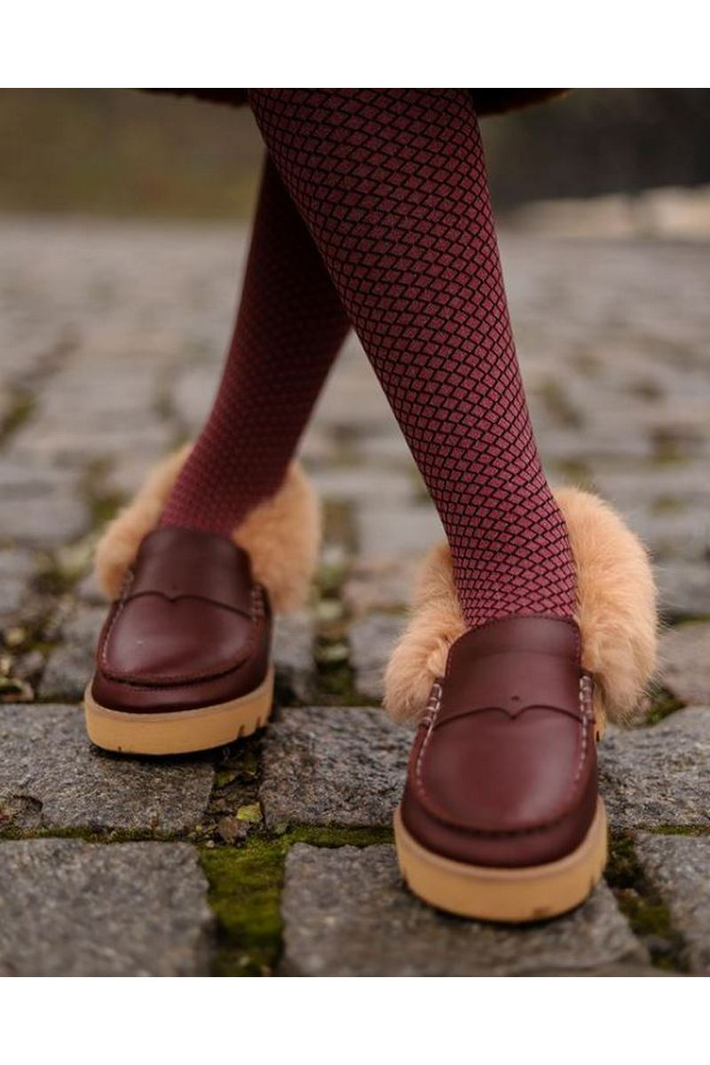 Buy Fall Women's Leather Moccasins Tractor Sole Fur Round Toe Comfortable Design