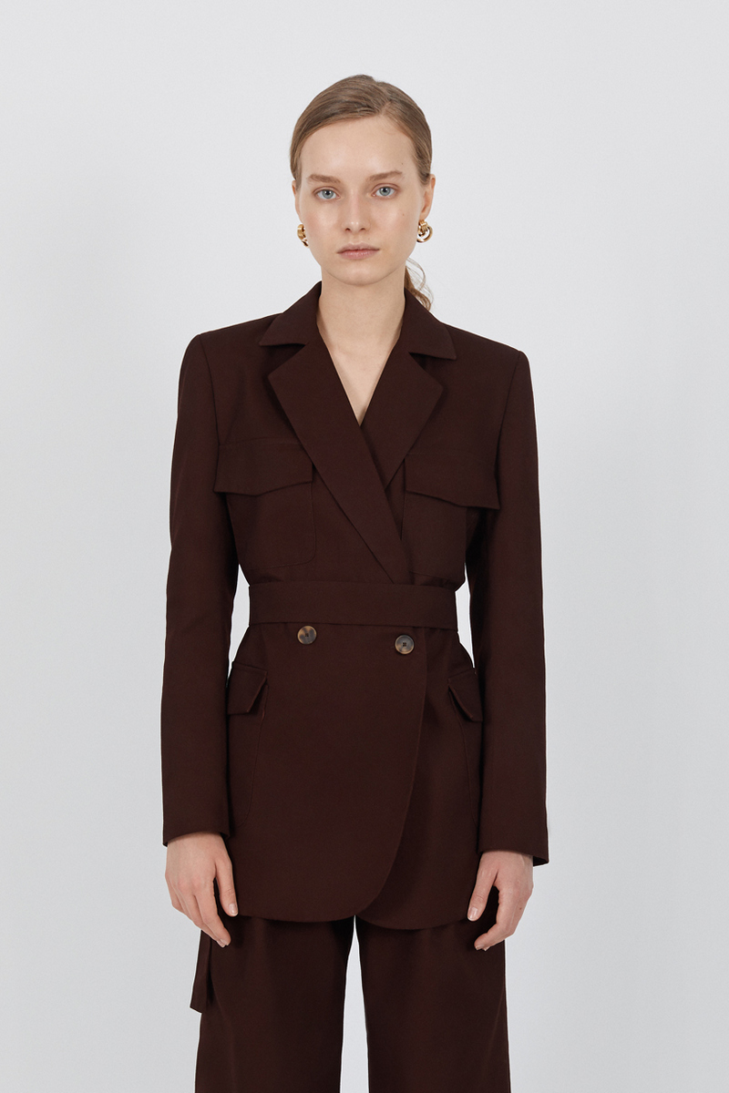 Buy Double breasted classic brown jacket, pockets belt buttons women retro jacket