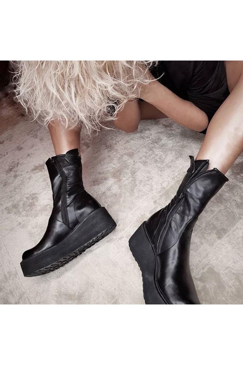 Buy Platform black leather zipper boots, unique stylish handmade women party boots