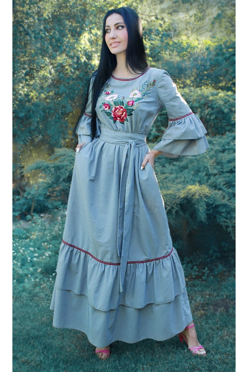 Buy Long blue cotton fancy dress hand embroidery, frill unique dress