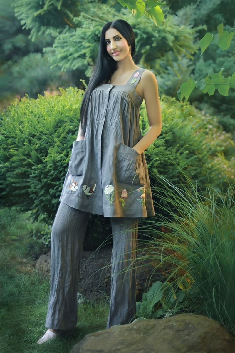 Buy Comfortable linen grey women set embroidered pantsuit, Stylish designer suit