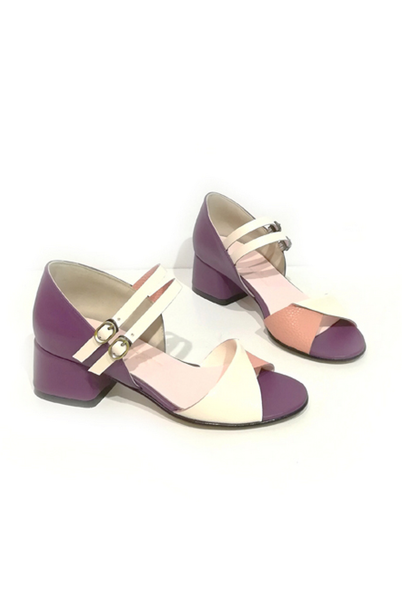 Buy Sandals women`s heel buckle leather lilac white retro, Designer comfortable stylish shoes