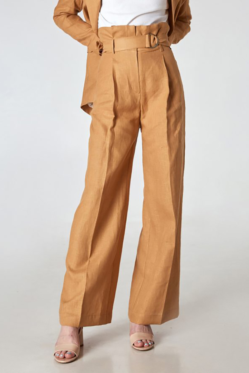 Buy Wide linen brown casual high waist comfortable women trousers