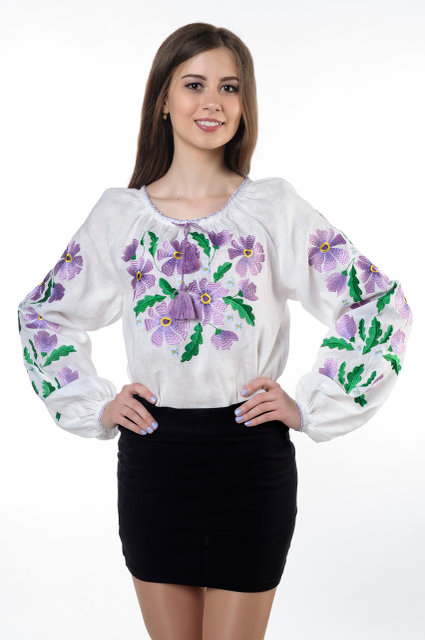 Buy Women's Ukrainian Cotton Blouse with White Embroidery Long Sleeve
