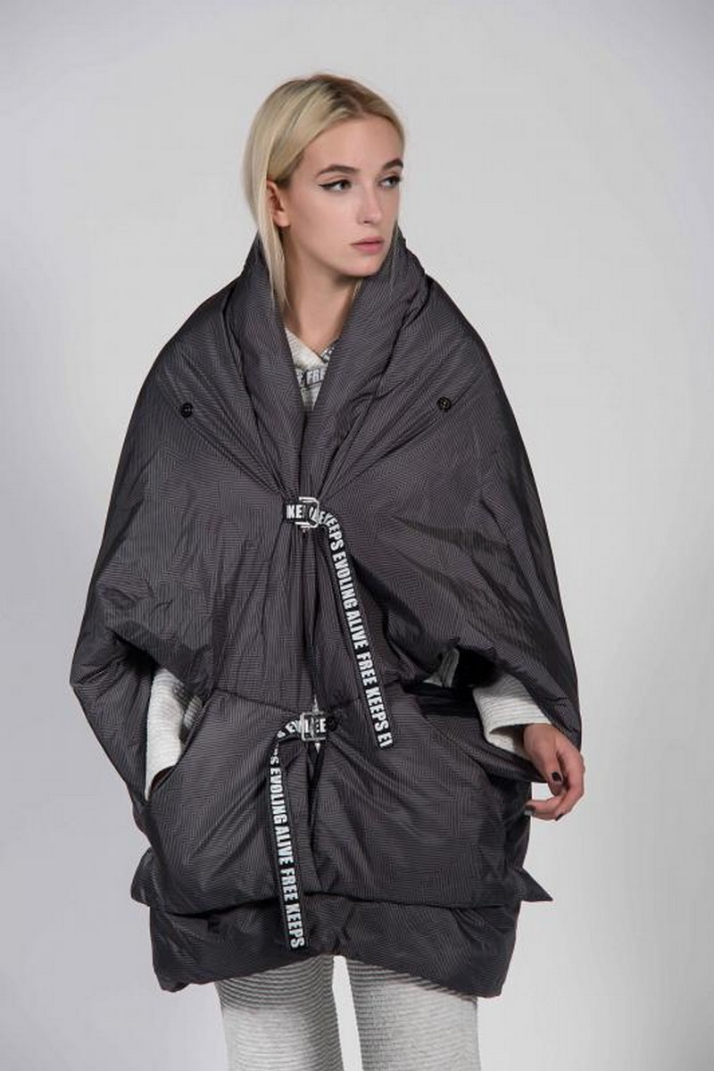 Buy Loose gray warm oversized coat, winter stylish transformer casual jacket