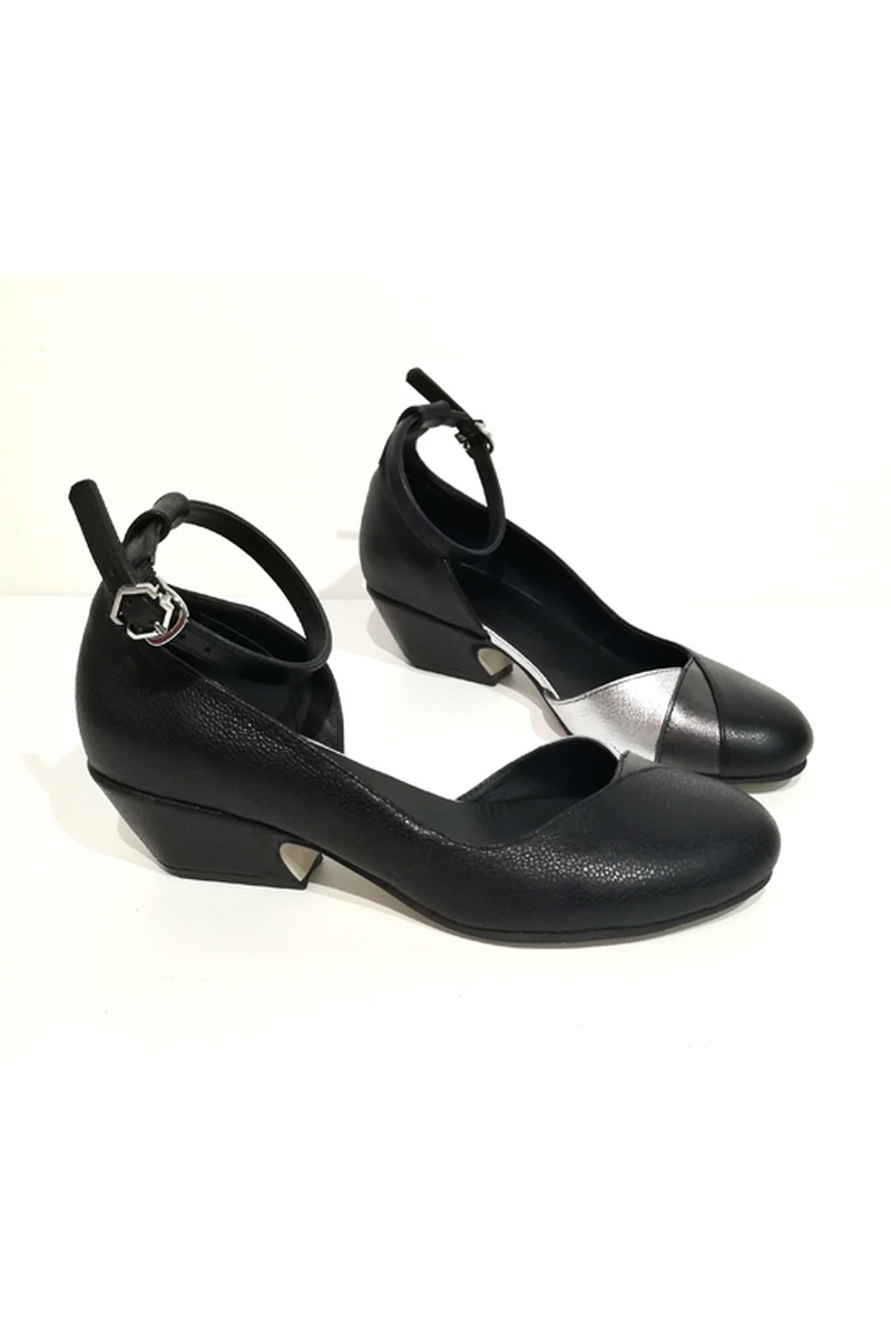 Buy Black leather shoes for women retro strap beveled comfortable heel, Designer shoes