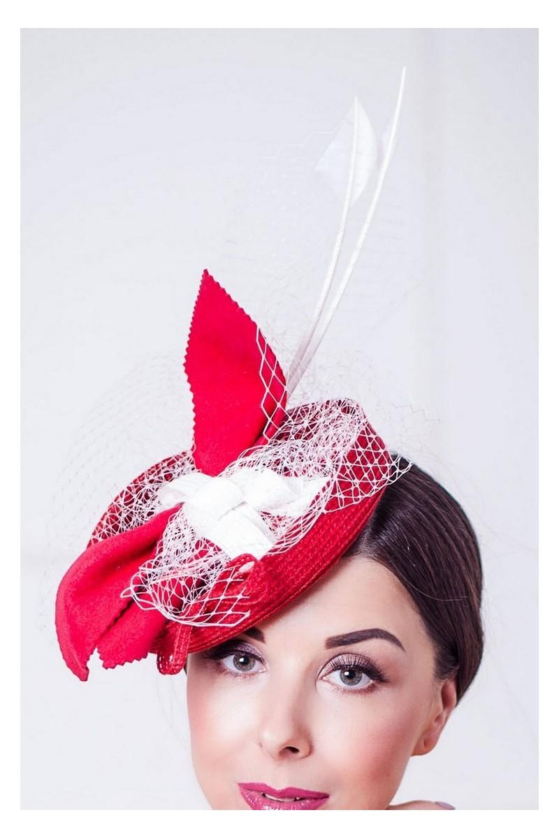 Buy Small evening elegant retro red white veil mesh feathers felt stylish designer hat