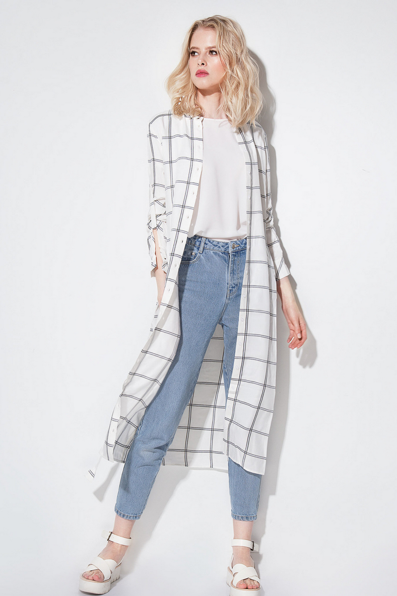 Buy Long summer white check shirt dress, cotton casual party comfortable blouse