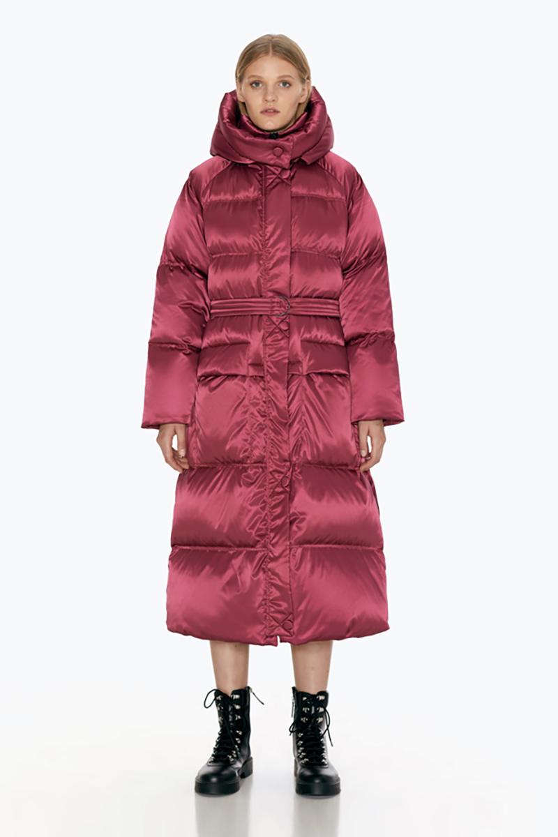 Buy Long hood trapezoid pink women warm winter windproof fabric down coat