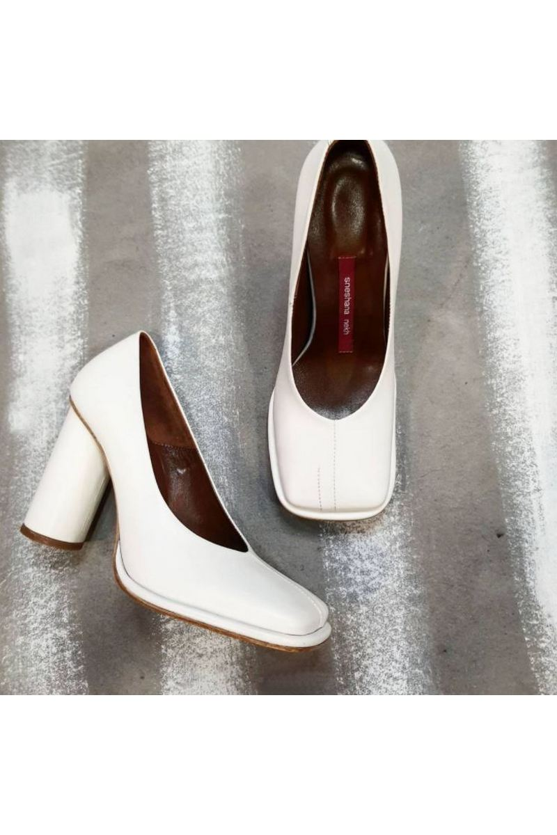 Buy Women's White Leather Round High Heel Square Toe Fashion Handmade Pump