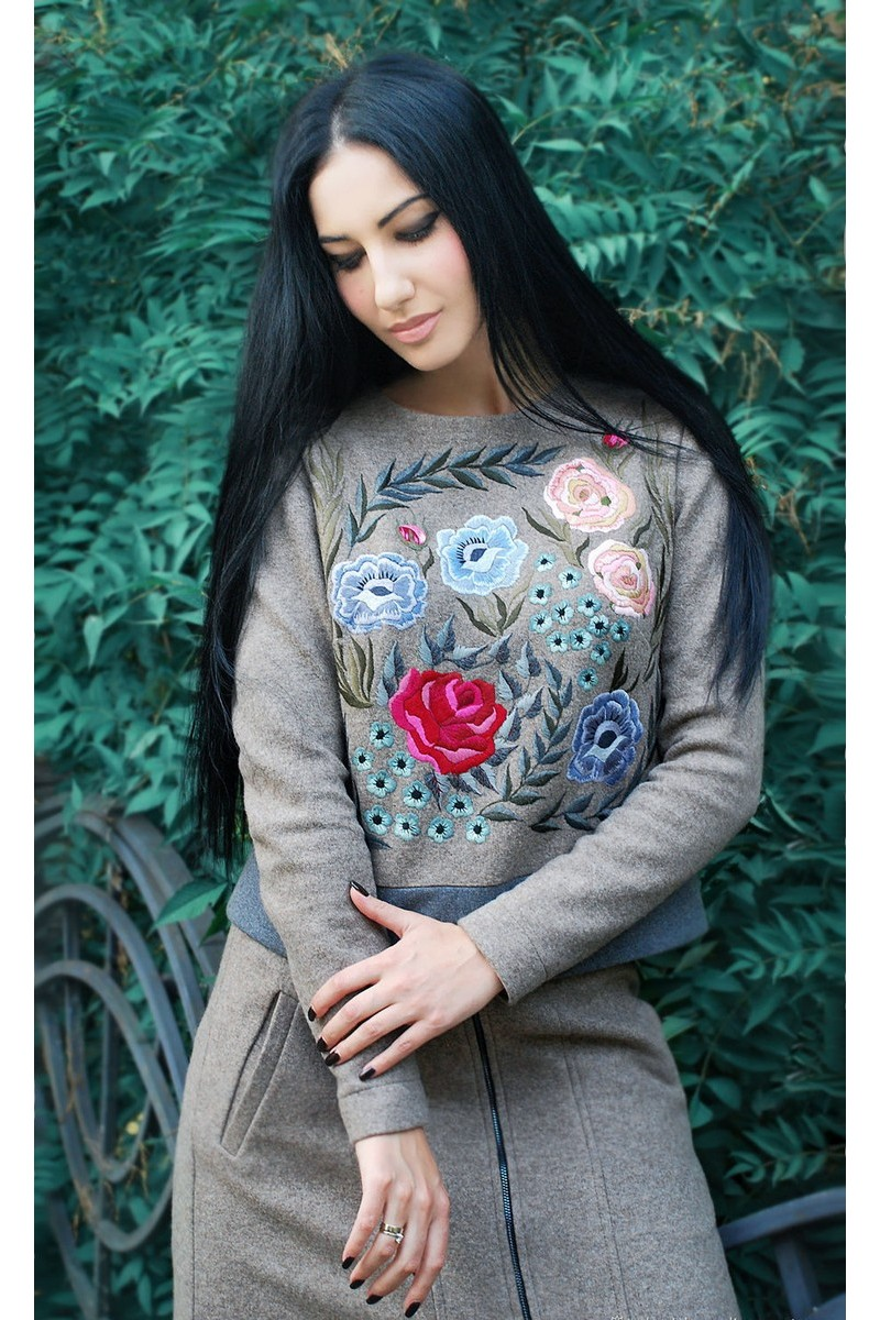 Buy Stylish and original wool gray design hand embroidery women`s warm suit