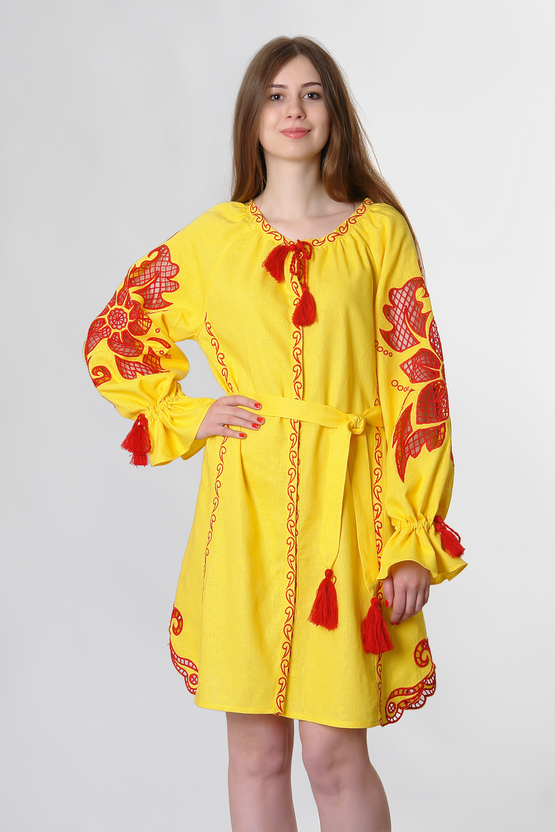 Buy Women Hippie Boho Folk linen embroidered summer dress , Summer Ethnic Ukrainian style vyshivanka