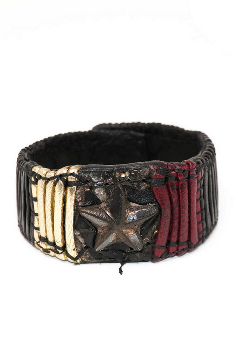 Buy Rockstar Black Wristband, Gold Red & Black Illuminating Leather Bracelet