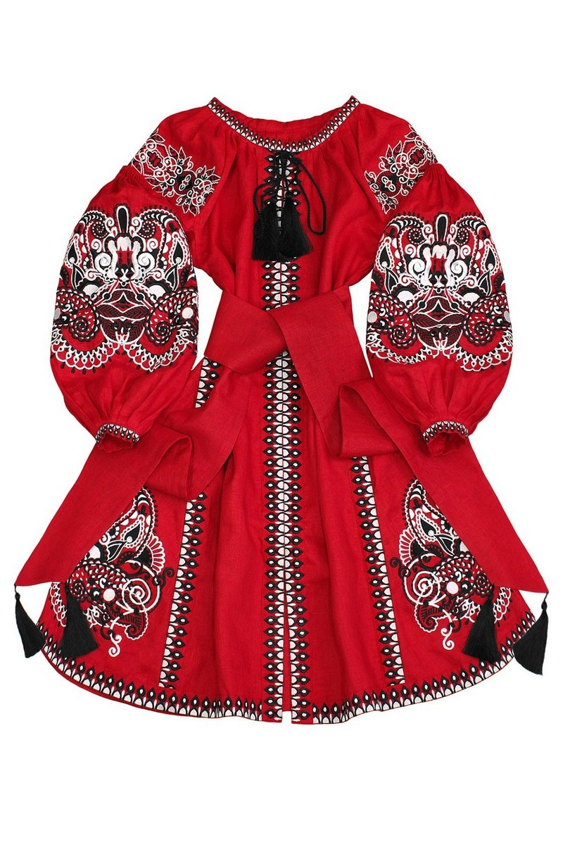 Buy Red linen stylish bright vyshivanka designer Ukrainian ethnic unique embroidery dress
