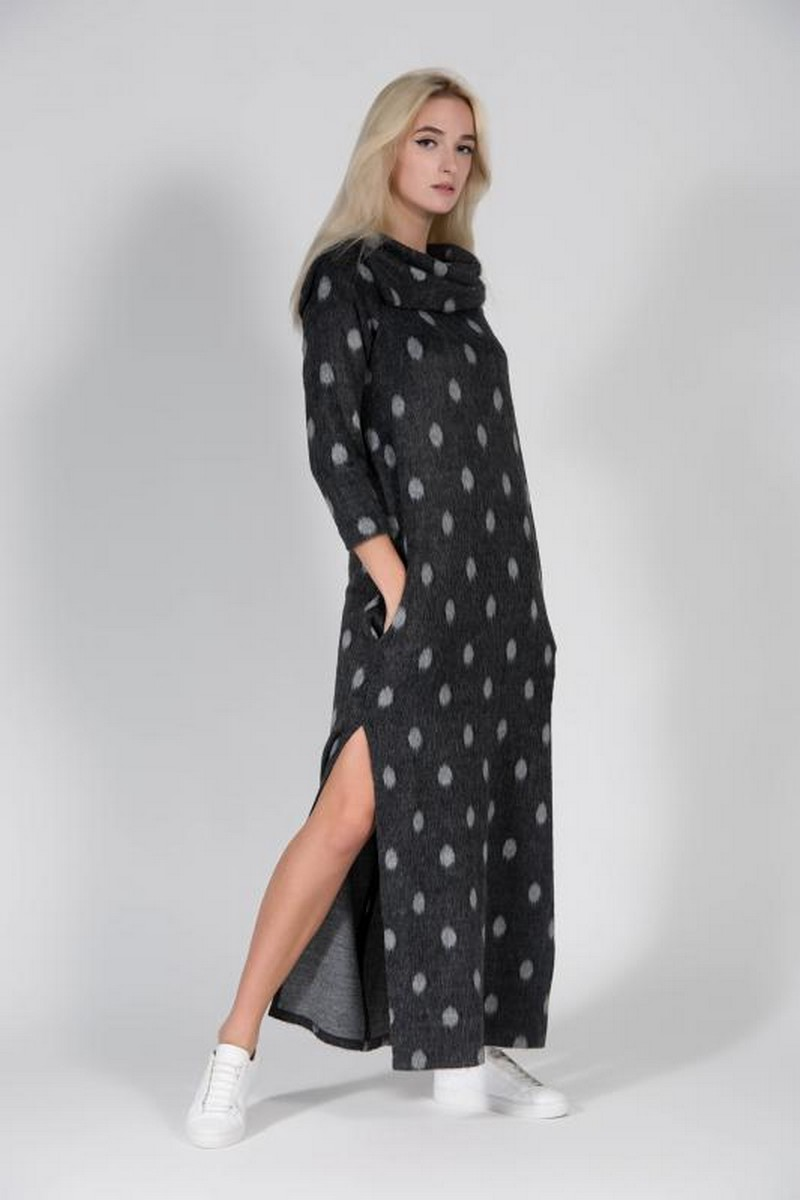 Buy Long gray wool peas dress, stylish warm winter casual packets clothes