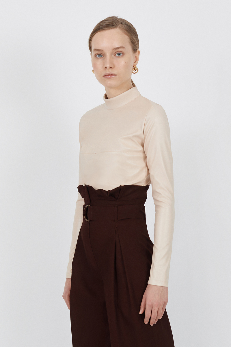 Buy Ecoleather beige zipper golf, women long sleeve casual party turtleneck