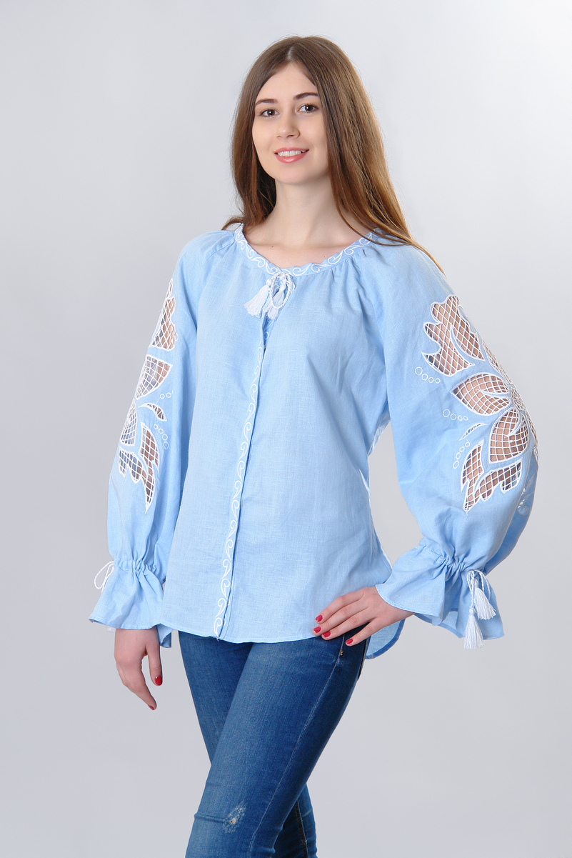 Buy Women summer blue linen Blouse Vyshivanka, Boho Ethnic Folk Ukrainian Style