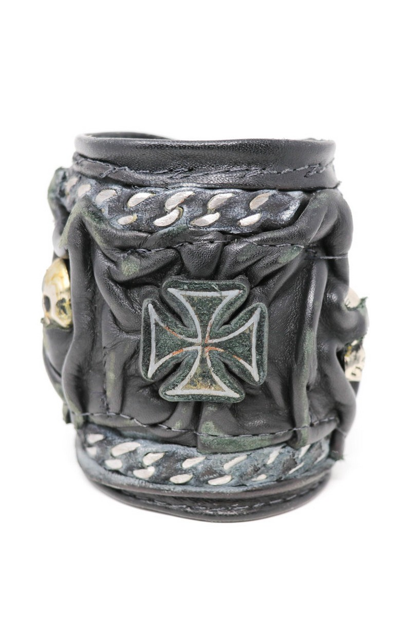 Buy Cross & Skulled Chained Around Black Leather Wristband, Rock Punk bracelet, Stylish Rockstar accessories