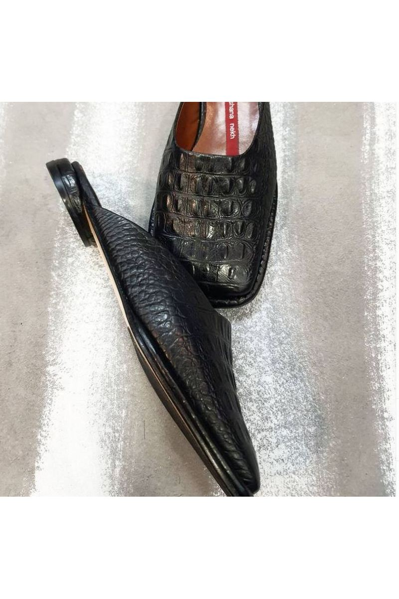 Buy Womens clogs black leather embossing crocodile square toe low heel comfortable fashion summer shoes