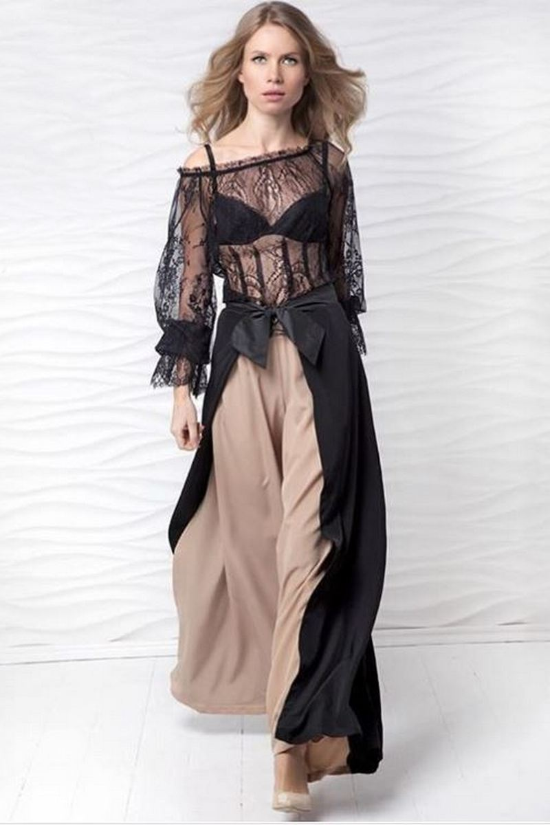 Buy Evening elegant maxi skirt, beige black womens skirt, Holiday Formal Skirt