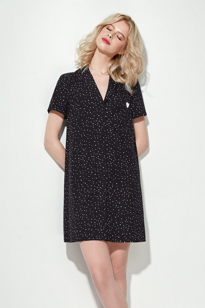 Buy Black White Loose Straight Mini Dress, Short Sleeve V Neck Casual Party Dress