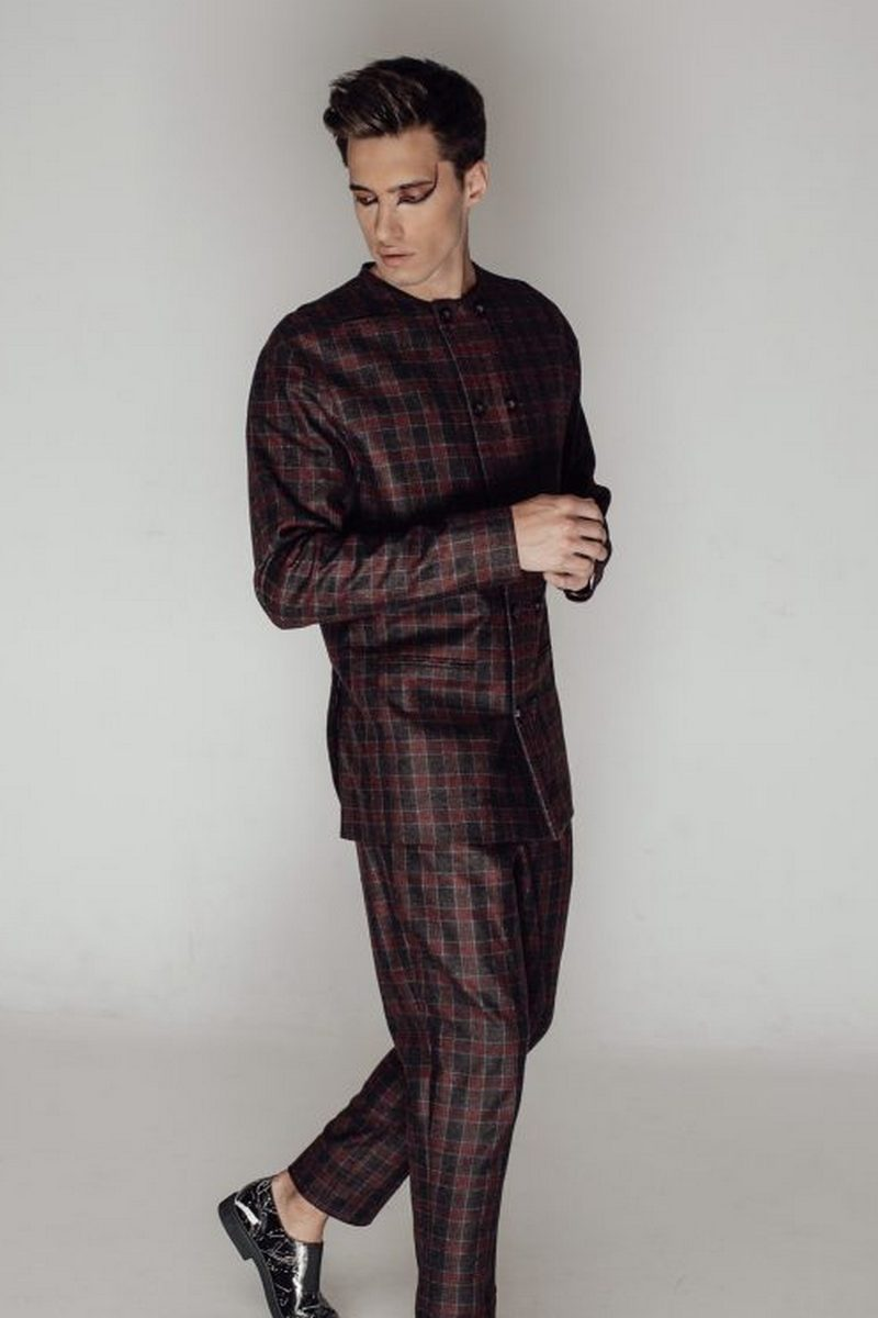 Buy Chest Wool Men`s 2 Piece Plaid Suit, Jacket Vest Buttons Pockets Pants Suit