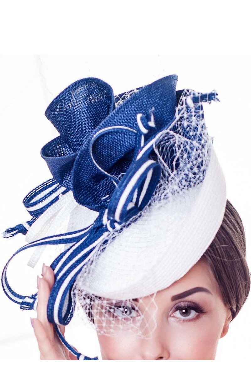 Buy Blue White Veil Mesh Elegant Exquisite Stylish Designer Straw Hat