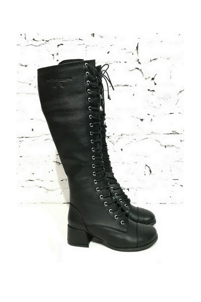 Buy High black leather women boots, high lacing stylish casual party boots
