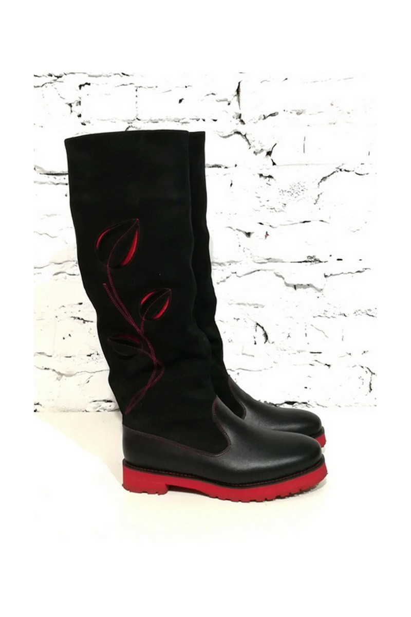 Buy Black/red leather nubuck women's boots, Stylish high boots without a heel
