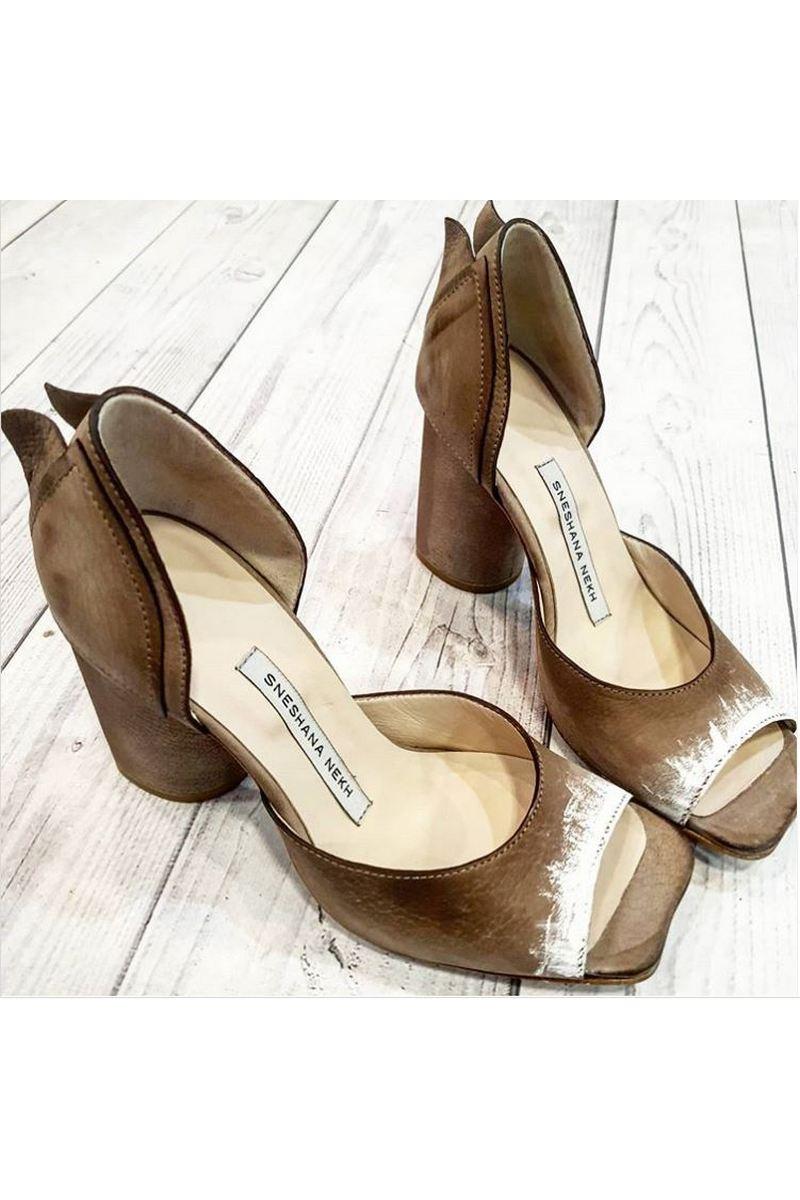 Buy Women's Leather Beige City Fashion Peep Toe Pumps Heels Vintage style Shoes
