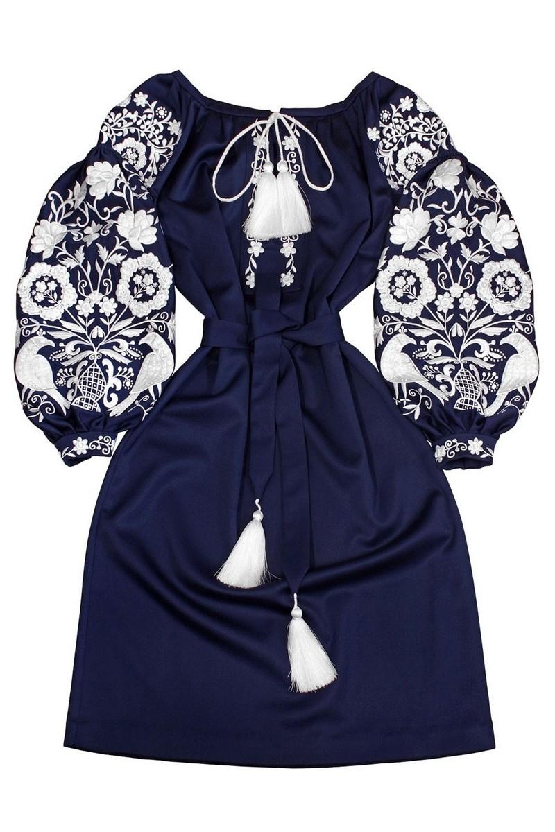 Buy Wool Blue Warm Ukrainian designer Vyshivanka Dress, unique authentic dress