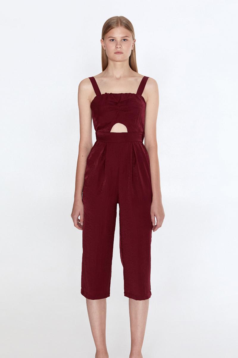 Buy Burgundy women summer linen straps pockets jumpsuit