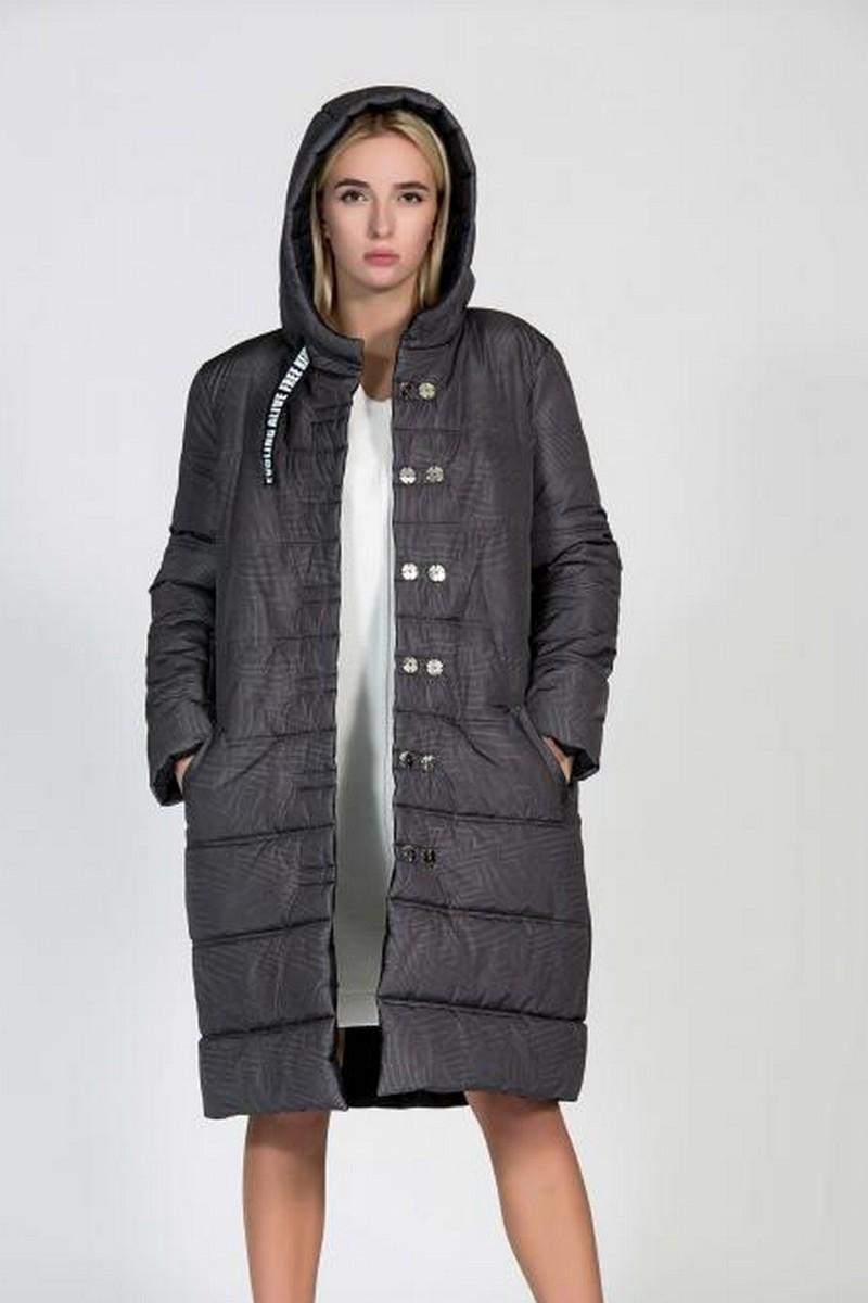 Buy Grey black double sided downcoat, hooded warm stylish women downjacket